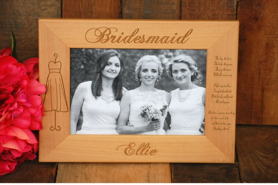 2 Bridesmaids Personalized Picture Frame Engraved Bridal Etsy