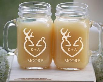 Mason Jar Mugs / Woodland Wedding Decor / His and Hers Mugs / Personalized Wedding Gift / Bride and Groom Gift / Custom Mugs / Buck and Doe
