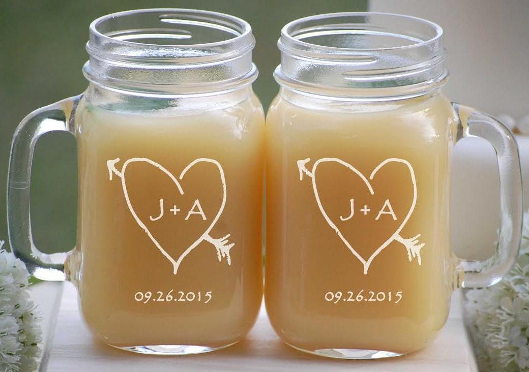 Wedding Gift Couples Mason Jar Personalized Rustic Wedding Etsy