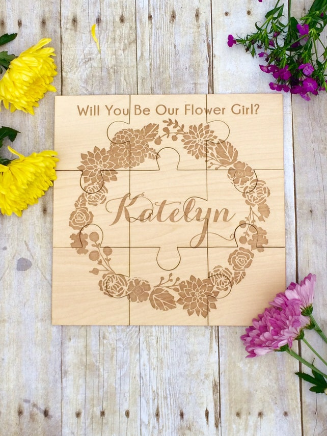 Flower Girl Gift Personalized Girls Puzzle Flower Puzzle Etsy