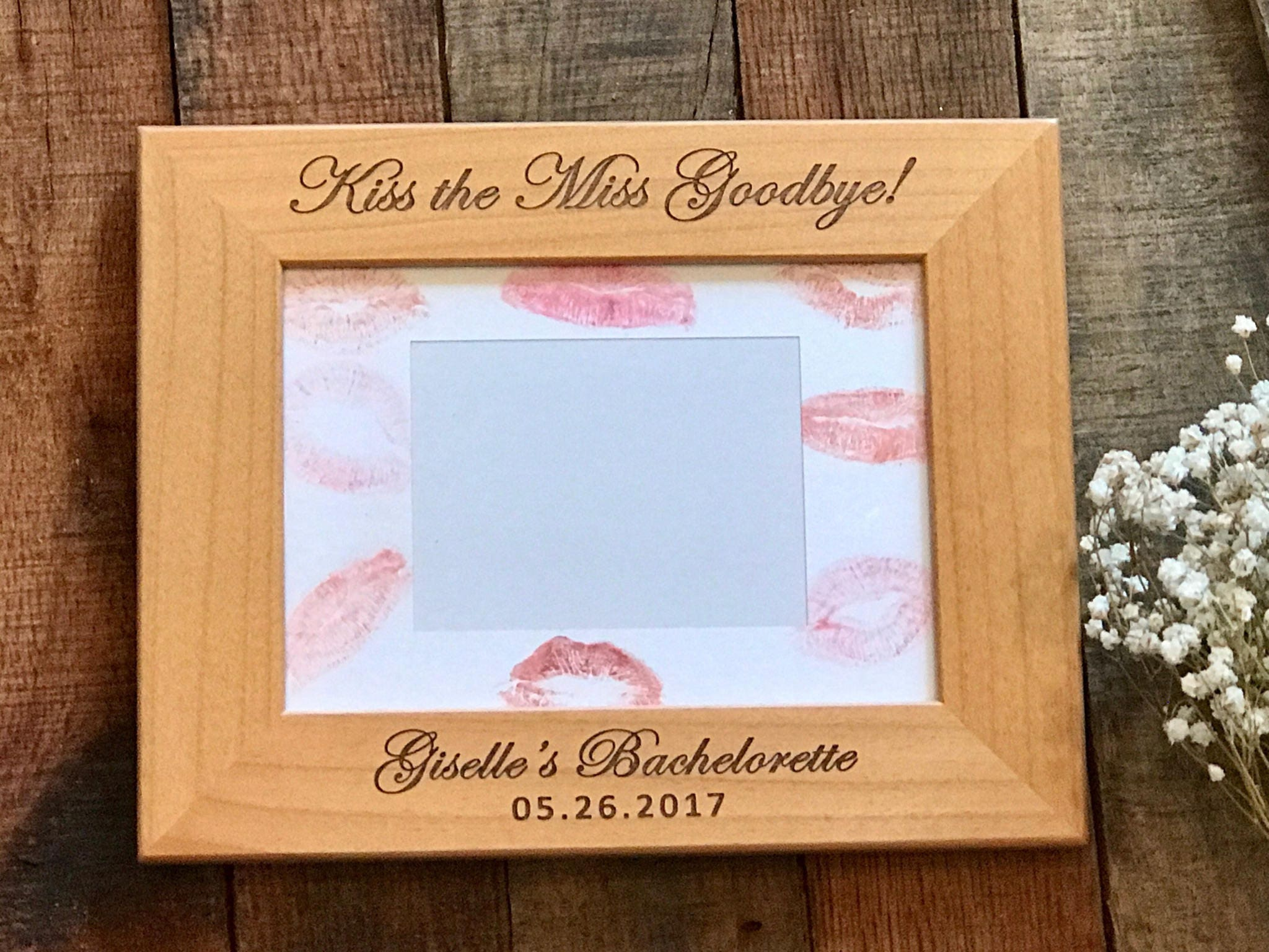 Kiss the Miss Goodbye Picture Frame Bridal Shower Sign | Etsy