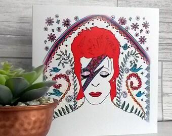 David Bowie Card, birthday card, fandom, Ziggy Stardust, illustration, sugar skull, day of the dead, colourful, special, memorabilia, 1970's