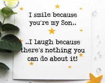 Son Birthday Cardcard For Sonbirthday CardSons Cardbirthday Card Sonspecial Sonfunny Cardjokey Cardson In Law