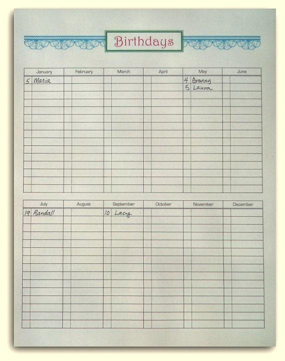 birthday list printable form digital download etsy