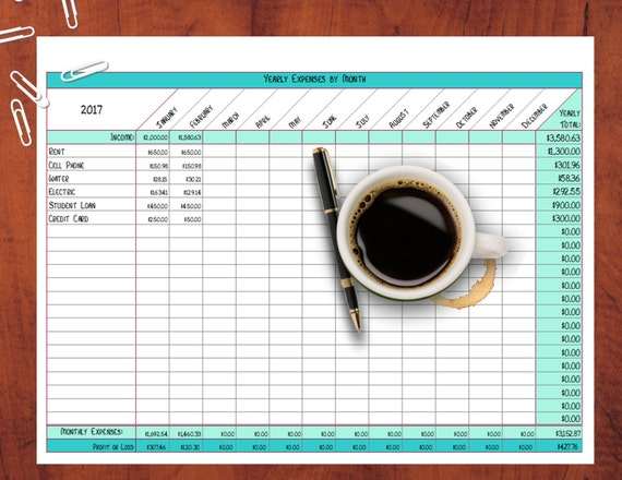 yearly expenses by month calculated excel file monthly etsy