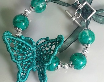 Lace butterfly bracelet and lampwork beads P001