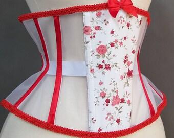 cc1a119492b Ready to wear cincher corset underbust sheer mesh waist training tight  lacing floral no busk steel bones 24