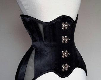 272c9b37d21 SnowBlack Corsets satin waist training corset with mesh panels and swing  hooks. Steel bones