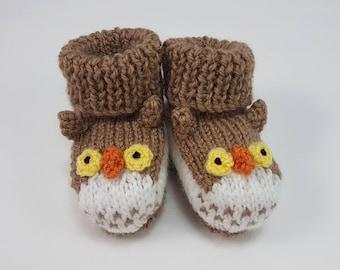 696ca8aff1c36 Owl baby booties   Etsy