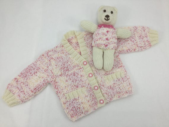 38aabf2f5a94 Baby girl sweater and teddy set. Size  Up to 1 Month 10 lbs