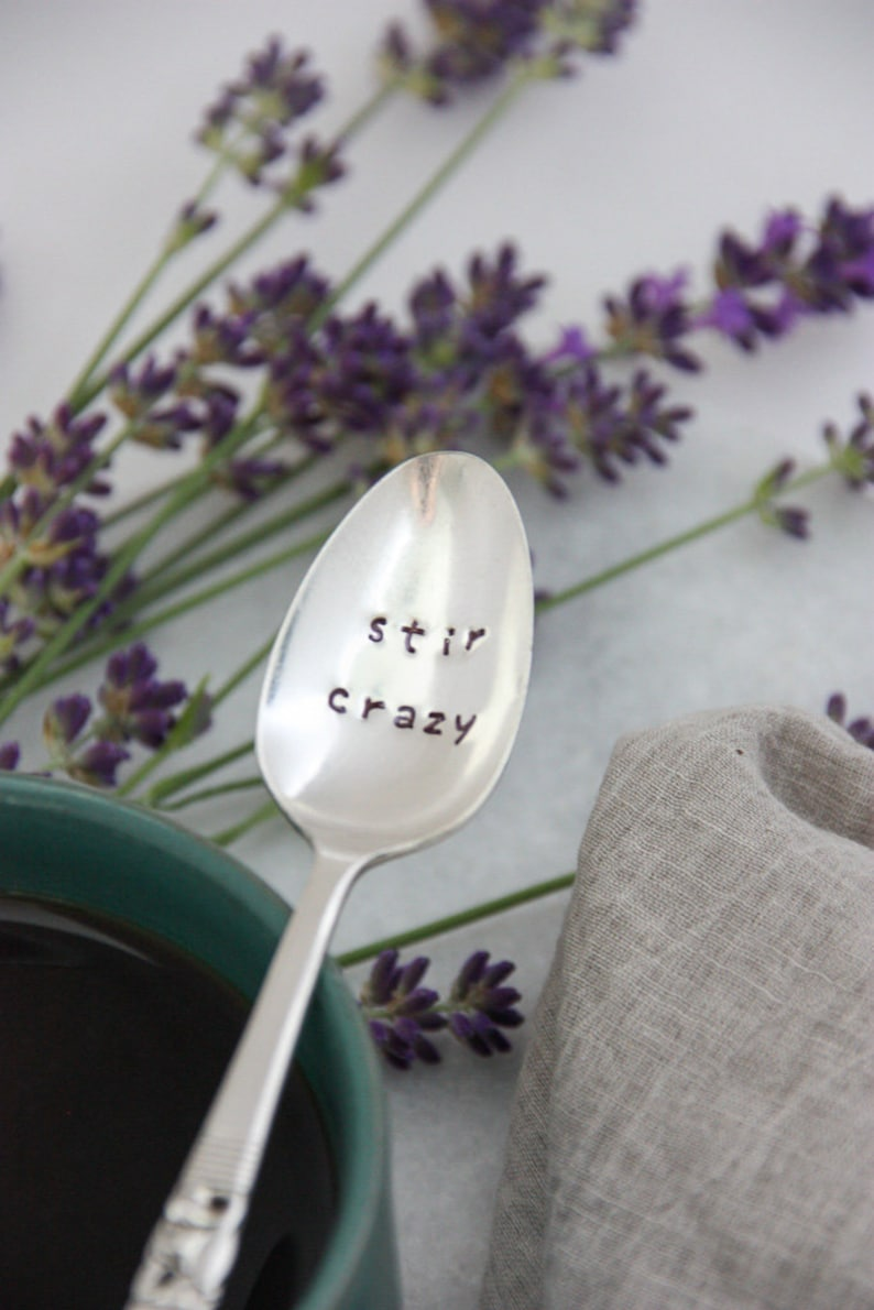 Coffee Sign Coworker Gift Stir Crazy Stamped Spoon Tea Gift Funny Mugs Stocking Suffer Coffee Gift Coffee Lover Teacher Gifts