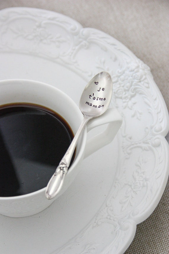 Moms Tea with a Heart - Mothers Day Gift for Mom Foodie Gifts for Her | Stainless Steel Stamped Spoon Option to Personalize with a Name