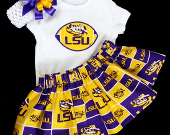 LSU Tigers Girls 3 piece Bodysuit set 936a8d85e