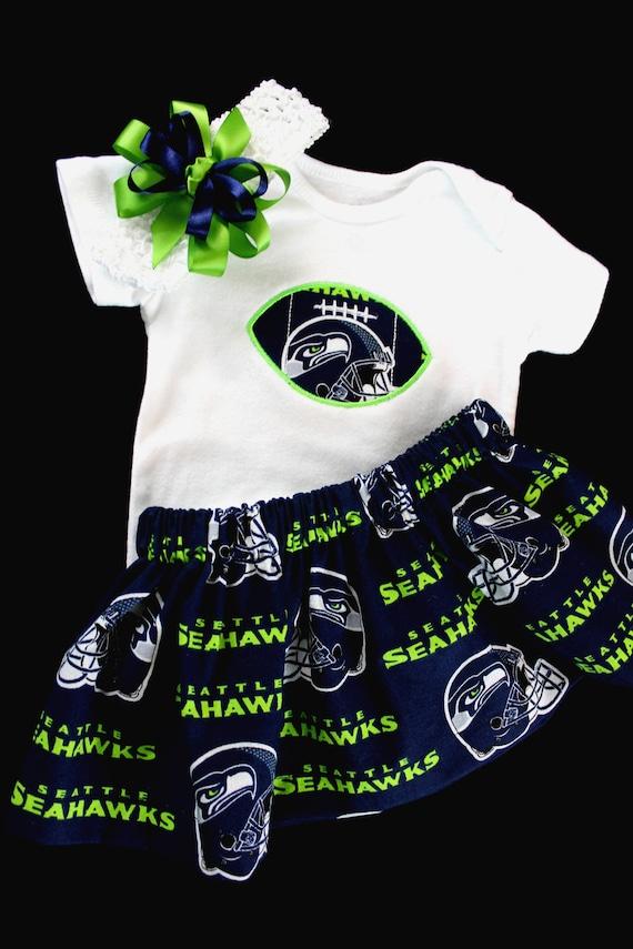 Seattle Seahawks  Baby Girl Skirt Personalized Bodysuit and Headband.