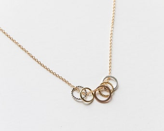 Gold Filled Multi Rings Necklace