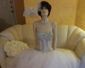 Stunning Victorian Sheer Bejeweled Boned White And Silver Corset Bustier Tulle Bridal Ball Gown
