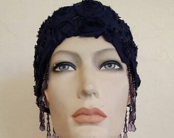 Vintage Inspired Navy Blue Gatsby Rose Waterfall Beaded Crochet Flapper Bridal Wedding Headpiece Headdress Costume Party