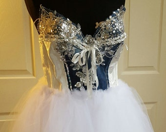 ef3d19c287c Sample Gown Listening Denim and Diamonds Bejeweled Brocade Corset Tulle  Bridal Wedding Ball Gown Party Costume Prom Formal