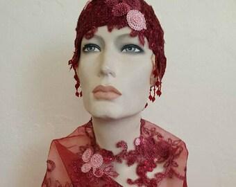 2 Piece Vintage Inspired Merlot Burgundy Gatsby Rose Waterfall Beaded Crochet Flapper Bridal Wedding Headpiece & Shrug Set Costume Party