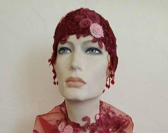 Vintage Inspired Merlot Burgundy Gatsby Rose Waterfall Beaded Crochet Flapper Bridal Wedding Headpiece Headdress Costume Party