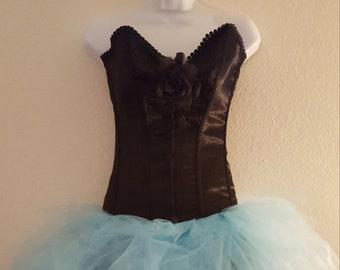 75a8676911 Sweetheart Black Satin Drop Waist Corset Powder Blue Tulle Tutu Mini Dress  Party Club Bridal Wedding Formal (more colors and fabrics)