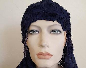Vintage Inspired Navy Blue Gatsby Rose Waterfall Beaded Crochet Flapper Bridal Wedding Headpiece & Veil Headdress Set Costume Party