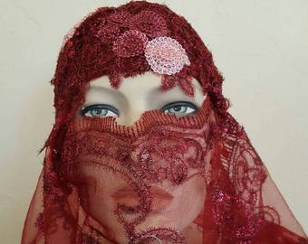 Vintage Inspired Merlot Burgundy Gatsby Rose Waterfall Beaded Crochet Flapper Bridal Wedding Headpiece & Veil Headdress Set Costume Party