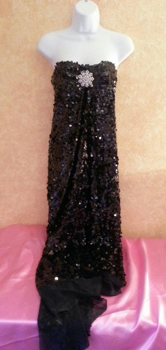 Party Wrap Strapless Club Flapper Costume Sequin Gatsby Wedding Crystal Black Bridal Sexy 20's Inspired Dress Sheath 0Ra7qPz