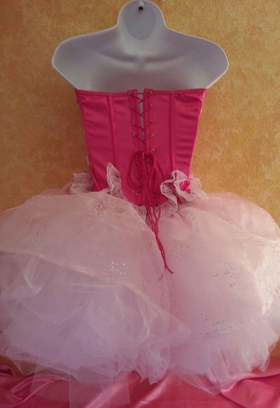 White Club Organza Fuchsia Aurora Bridal Encrusted Pink Pink Set Borealis Corset Cute Skirt Tulle Sexy Party Tutu Dress Crystal Costume Wvx5gw8HWq
