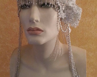 Gatsby 20's  Flapper Waterfall Beaded Lace Crystal Flapper Headpiece Hat Bridal Wedding Costume Party Theatrical Burlesque / More Colors