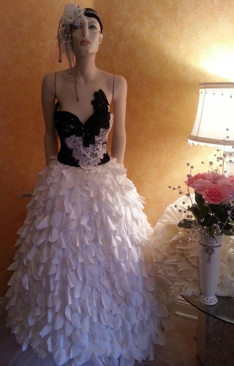 322684cec4 Black & White Corset Crystal Sequin Lace Taffeta Petal Vintage | Etsy