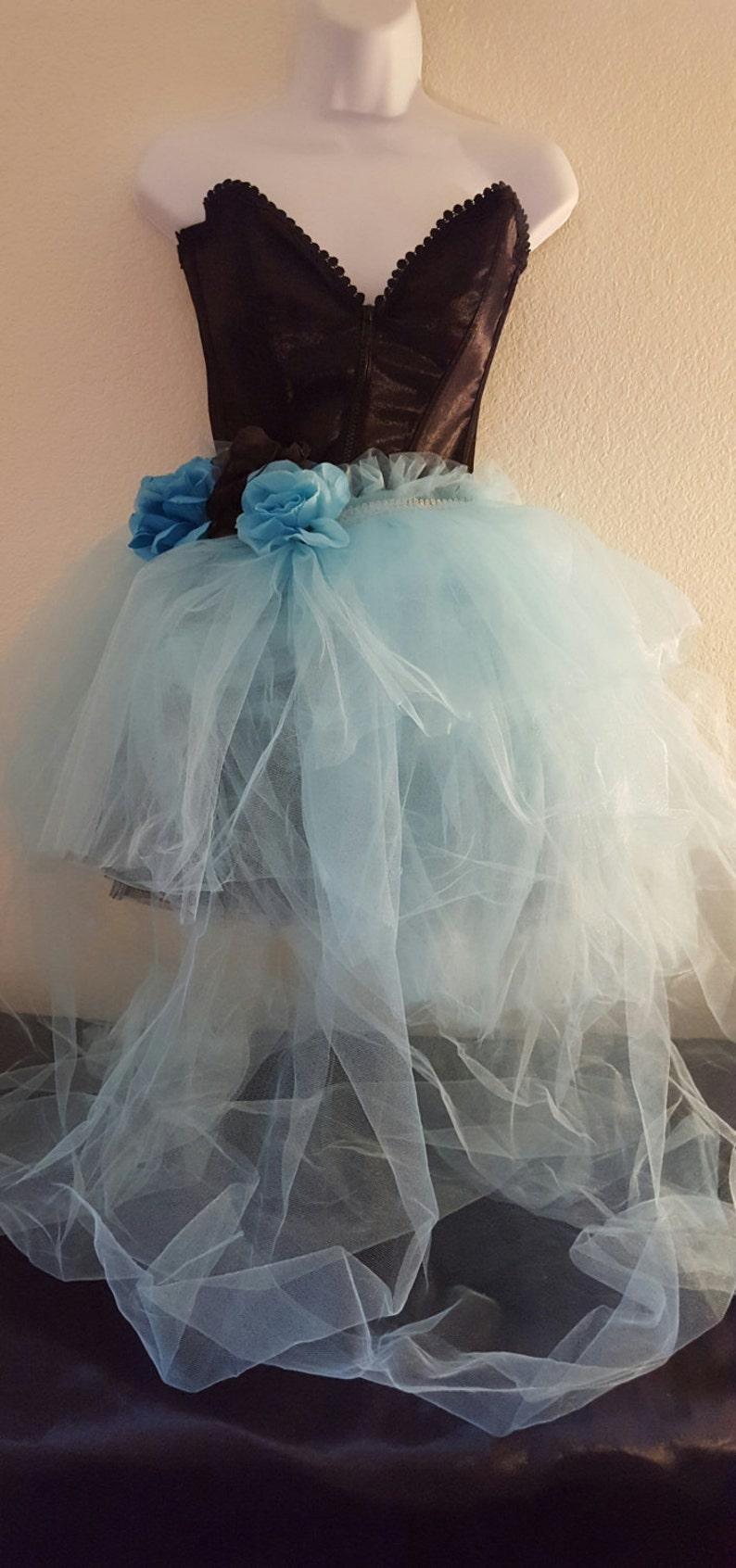 b0b74179b0 Sweetheart Black Satin Corset Blue Rose Waist Asymmetrical