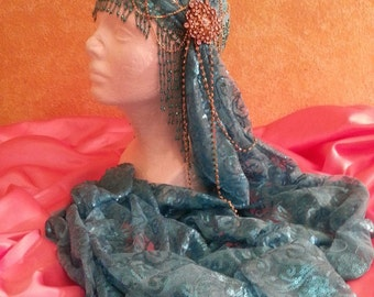 Gatsby 20's Style Waterfall Beaded Lace Crystal Flapper Bellydance Headpiece Hat Bridal Costume Party Theatrical Burlesque/More Colors