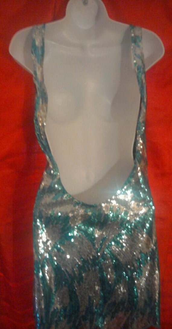 So Club Party Sequined Sexy Oh Tunic Mini Silver amp; Dress Holiday Turquoise Backless Sheath 6xAxndqU