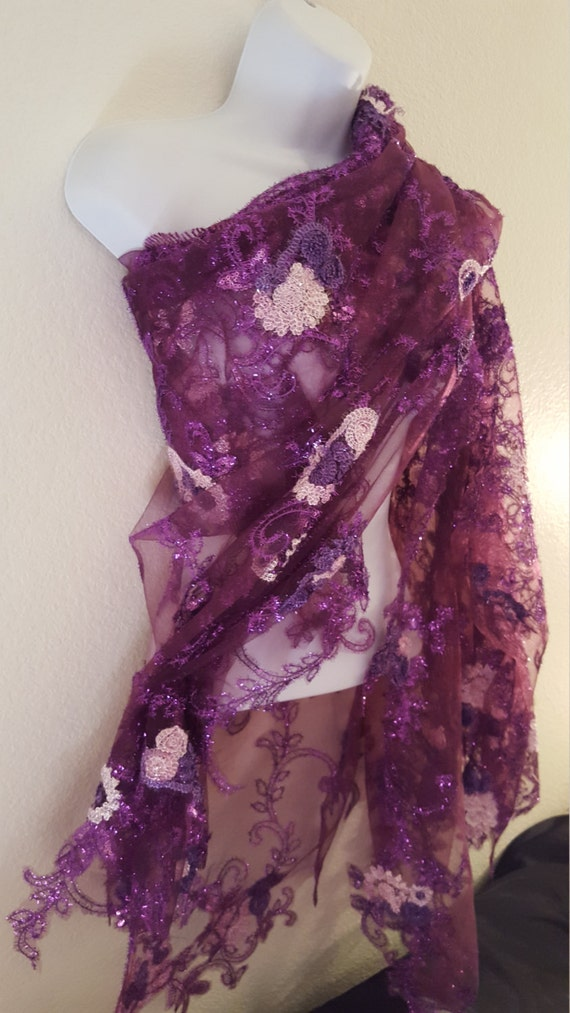 Party Floral Top Bolero Bridal Indian Wedding Beautiful Embroidered East Inspired Club Wrap Sheer Purple Shrug Tulle Jacket qOfa57