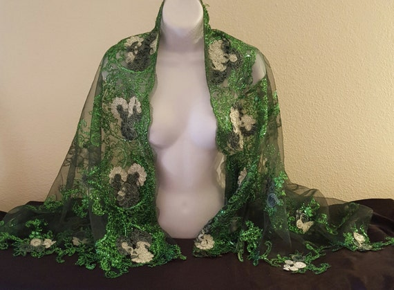 Jacket Top Wedding Indian Kelly Party Floral Beautiful Shrug Inspired Wrap East Embroidered Green Bolero Sheer Tulle Bridal Club cvqHW0Z6HU