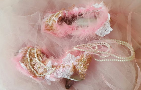 Bridal And Wedding Fairytale Lace Shoes White Gold Embroidered Cinderella Crystal Pink Heels Pearl qqrzEwPx