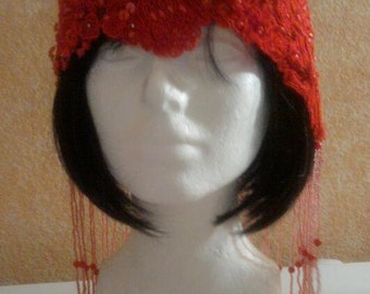 Gatsby Red Roaring 20's Style Waterfall Beaded Lace Flapper Headpiece Hat Bridal Wedding Costume Party Theatrical Burlesque / More Colors .