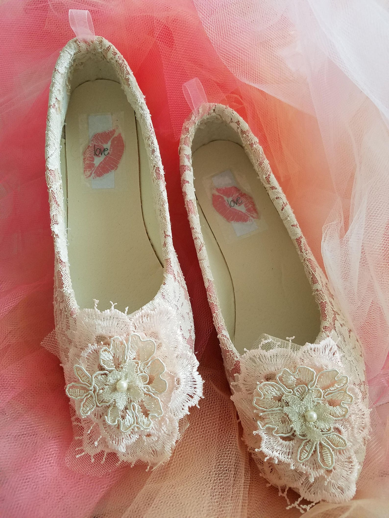 romantic custom designed 3d lace and removable satin ankle-strap bridal wedding ballet flats shoes party club quinceanera prom