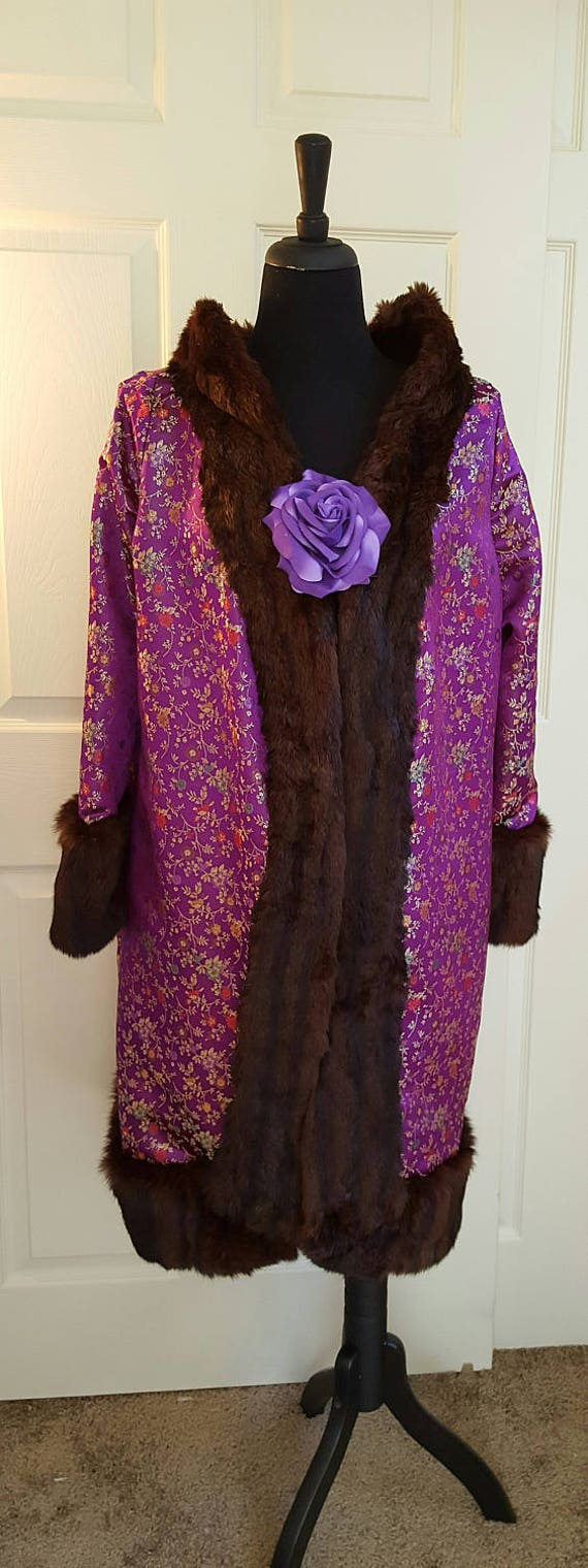 Vintage Genuine Style 60's Mink Evening Silk Asian Costume Satin Flower Wedding Trimmed Walking Party Exotic Coat Print UYwqEq5