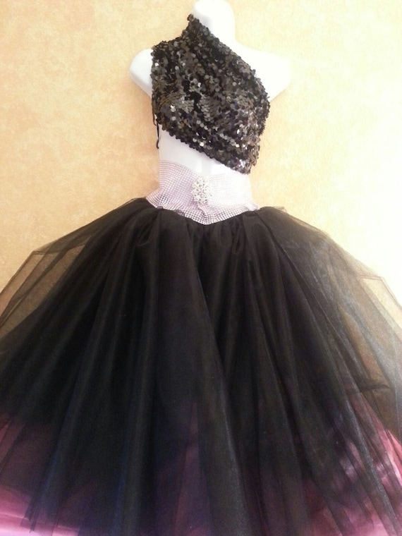 Black Brooch The Rhinestone Sequin Bridal Ballet Sash Style Illusion City Top Sex In Carrie Length Skirt Tea Style Wedding Tulle Tutu Party aSEfrqaw