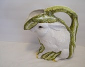 Italian Rabbit Juice Pitcher holds 2 quarts, Vintage Bunny pouring jug made in Italy, green leaf ears, 11 inches tall, Easter home decor