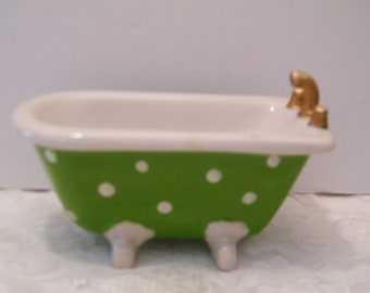 Bathtub Soap Dish Green With White Polka Dots, Vintage Footed Tub Soap  Dispenser With Gold Tone Handles, Whimsical Home Decor, Gift Idea