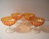 Amber Marigold Carnival Glass Sherbets, 4 Vintage depression cups, 1930s era, footed dessert replacement by Imperial Glass in Rays Pattern