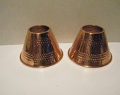 2 Hammered Copper Lamp Shades for Light Fixtures, Set of Vintage home decor shades, nice preowned condition