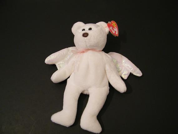 Halo Ty Beanie Baby Plush Angel Bear Vintage Born August 31  e1bb74aa98a