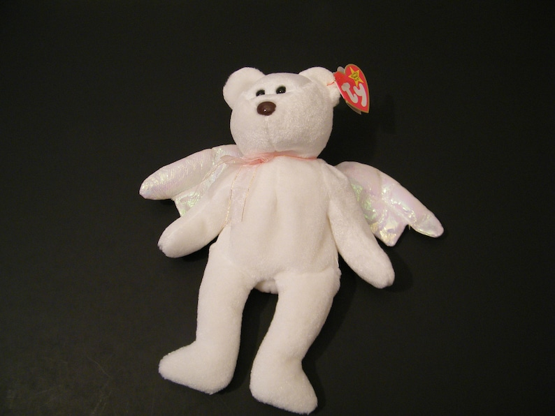 706fb4be063 Halo Ty Beanie Baby Plush Angel Bear Vintage Born August 31