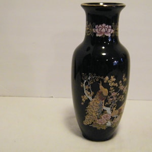 Vintage 8 inch asian flower holder Japanese Peacock Vase on Black Ceramic with Gold accent light wear discoloration cherry blossom tree