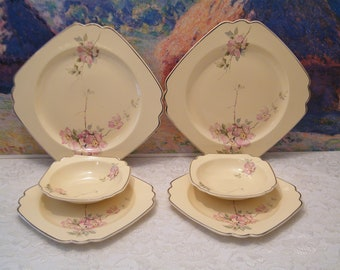 Wells China Briar Rose CHOICE of Plates or Bowls, Vintage Homer Laughlin replacement dishes pink roses with platinum edge, square design