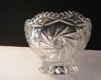 Brilliant Cut Glass Bowl vintage footed Lead Crystal Bowl 6.25 diameter x 4 inch tall  Pinwheel, Panama, Sawtooth, Pattern Glass,